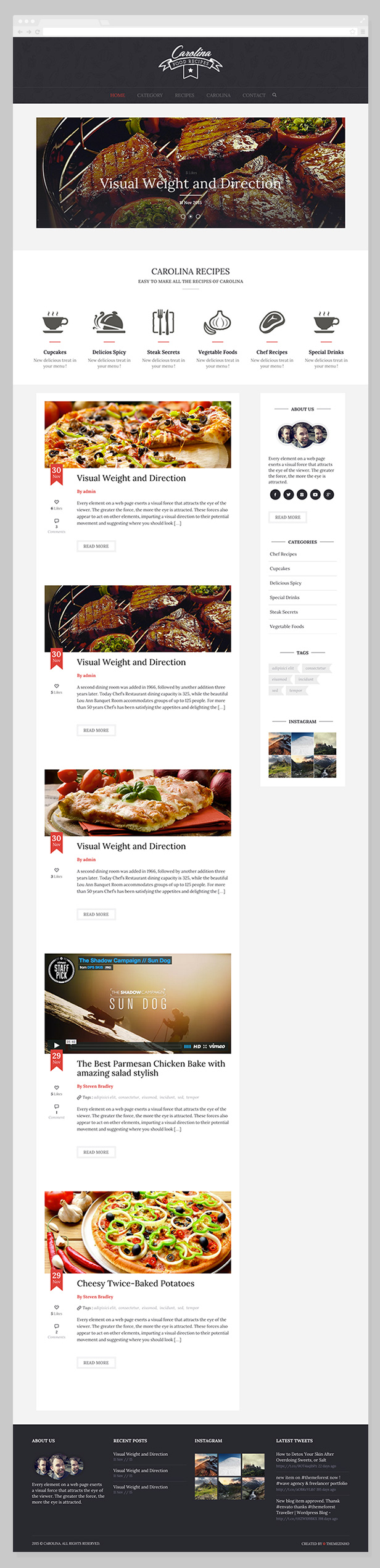 Carolina - Homemade Recipes WordPress Theme